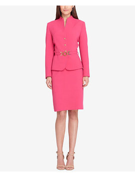 Belted Three Button Skirt Suit by Tahari Asl