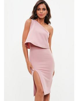 Rose Pink One Shoulder Crepe Overlay Split Midi Dress by Missguided