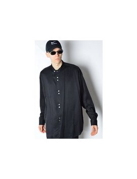 Vintage 90s Black Minimalist Collarless Long Sleeve Shirt Size L   Xl by Kaleidoo