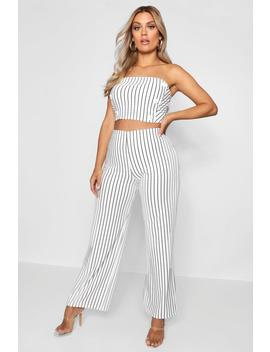 Plus Striped Bandeau + Trouser Co Ord by Boohoo