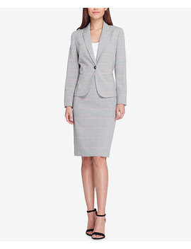 Plaid One Button Skirt Suit by Tahari Asl