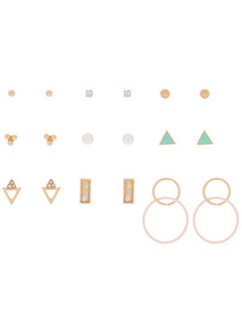 Gold Mixed Stud Earrings   9 Pack by Claire's