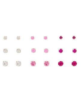 Graduated Crystal Stud Earrings   Pink, 9 Pack by Claire's