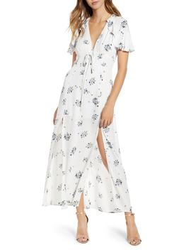 Floral Print Corset Waist Maxi Dress by