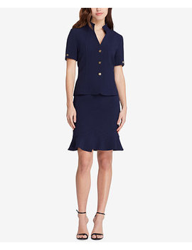Flounce Hem Skirt Suit by Tahari Asl