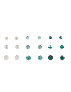 Graduated Crystal Stud Earrings   Green, 9 Pack by Claire's
