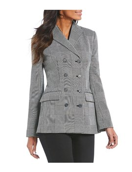 Glen Plaid Peak Lapel Double Breasted Jacket by Generic