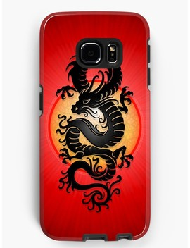 Black Chinese Dragon On Red by Jeff Bartels