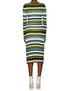 Striped Rib Knit Fit & Flare Midi Dress by Altuzarra