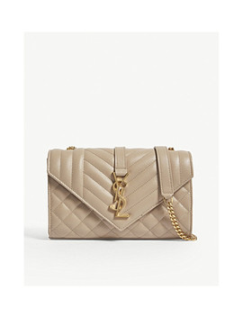 Monogram Small Quilted Pebbled Leather Satchel by Saint Laurent