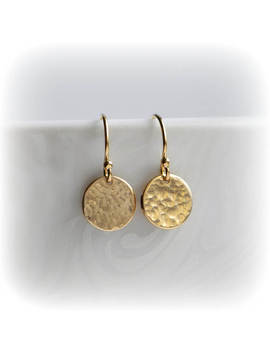 Hammered Gold Earrings, Gold Disc Earrings, Tiny Gold Earrings, Gold Minimalist Earrings, Dangle Earrings, Girlfriend Gift For Her, by Blissaria