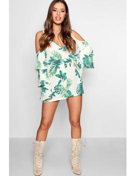 Petite Palm Print Ruffle Sleeve Wrap Playsuit by Boohoo