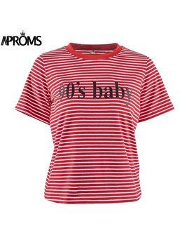 Aproms Retro Red White Stripe Tee Women Short Sleeve Basic T Shirt  Summer 2018 Casual Streetwear Boyfriend Tshirt 90s Baby Tops by Aproms