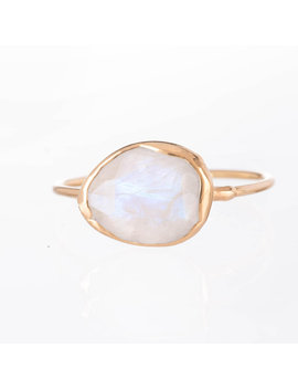 Raw Moonstone Ring, Gold Rainbow Moonstone Ring, June Birthstone, Unique Engagement Ring, Raw Stone Ring, Raw Crystal Ring, Promise Ring by Ringcrush