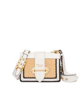 Cahier Woven Straw And Leather Bag by Prada