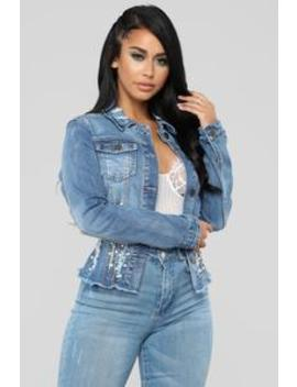 More Pearls Less Denim Jacket   Medium Blue by Fashion Nova
