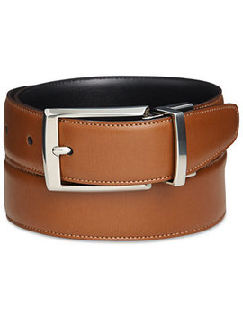 Portfolio Men's Amigo Tan Leather Reversible Belt by Perry Ellis