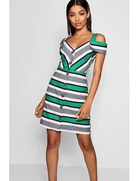 Stripe Cold Shoulder Summer Dress by Boohoo