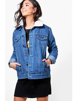 Borg Lined Oversize Denim Jacket by Boohoo