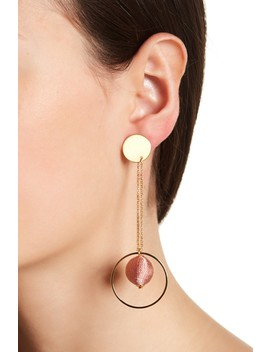 Disc & Hoop Threaded Pompom Front To Back Dangle Earrings by Rebecca Minkoff