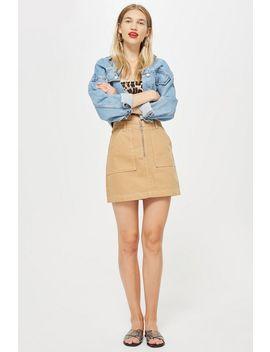 Tan Denim Utility Skirt by Topshop