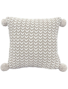 Taupe Knit Pillow With Pom Poms  18 In. by At Home