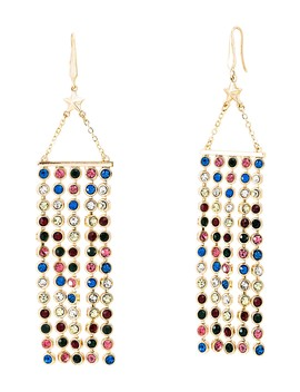 Crystal Glass Fringe Drop Earrings by Steve Madden