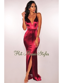 Wine Satin Slit Mermaid Maxi Dress by Hot Miami Style