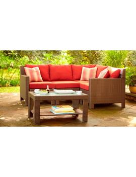 Beverly 5 Piece Patio Sectional Seating Set With Cardinal Cushions by Hampton Bay