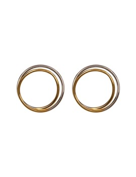 Two Tone Looped Open Circle Earrings by Argento Vivo