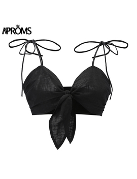 Aproms White Bow Tie Front Camis Women Summer Sleeveless Pleat Slim Crop Top Cool Girls Streetwear Fashion Tank Tops New 2018 by Aproms