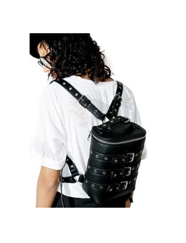 Europe And The United States Street Rock Punk Belt Metal Buttonhole Pu Leather Shoulder Backpack Men And Women by Miwind