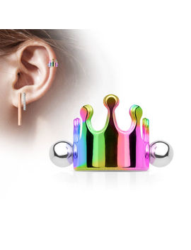 Crown Surgical Steel Ear Cartilage Piercing Helix Cuff Shield Barbell Stud Ring by Soscene