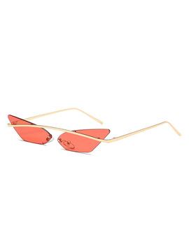 2018 Fashion Small Cat Eye Sunglasses Women Design Brand Shades Uv400 Single Beam Rimless Vintage Glasses Oculos Eyewear De Sol by Buke