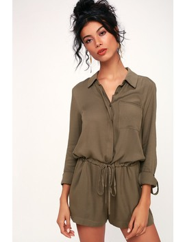 Zayn Olive Green Long Sleeve Button Up Romper by Lulu's