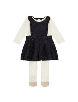 Baker By Ted Baker   'baby Girls' Navy Textured Pinny, Top And Tights Set by Baker By Ted Baker