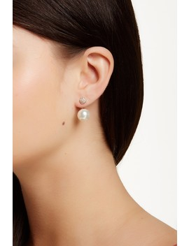 Cz Cluster & Faux Pearl Jacket Earrings by Sterling Forever