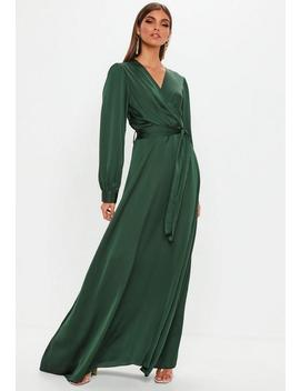 Green Satin Wrap Over Maxi Dress by Missguided