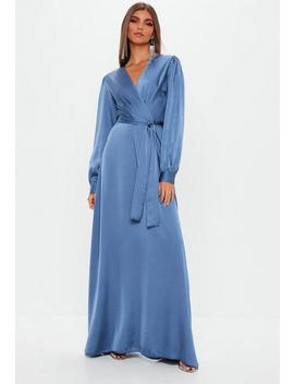 Blue Satin Wrap Over Maxi Dress by Missguided