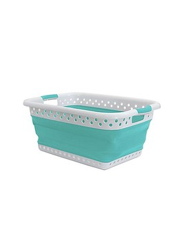 Collapsible Laundry Basket In Blue by Bed Bath And Beyond