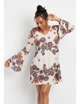 Bell Sleeve Medallion Print Dress by Maurices