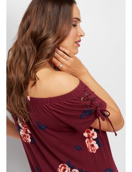 Plus Size Rosy Floral Off The Shoulder Dress by Maurices
