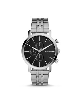 Luther Chronograph Stainless Steel Watch by Fossil