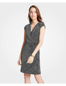 Tall Cross Stripe Cap Sleeve Wrap Dress by Ann Taylor