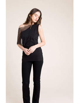 Party Top / Sleeveless Top / Fitted Top / Black Cocktail Top / Formal Shirt / Cool Top / Mesh Top / Marcellamoda   Mb0859 by Marcellamoda