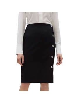 Jaeger Button Side Pencil Skirt, Black by Jaeger