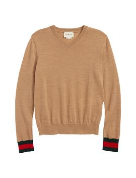 Stripe Cuff V Neck Merino Wool Sweater by Gucci