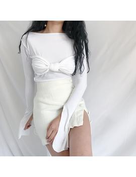 Chest Twist Bra Thin Top White Black Modair Super Long Sleeve  Splid T Shirts by Chance Forever