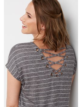 Striped Lace Up Back Tee by Maurices