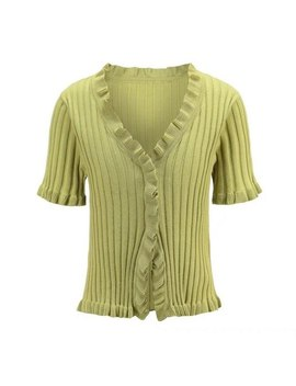 Sexy Women Deep V Neck Cropped Tops Summer Short Sleeve Knit Tanks Girls Slim Cardigans Ruffles Side Tanks Fashion Streetwear by Liz Kova